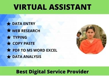 I will be your Virtual Assistant Data entry,  Copy paste work and Web research