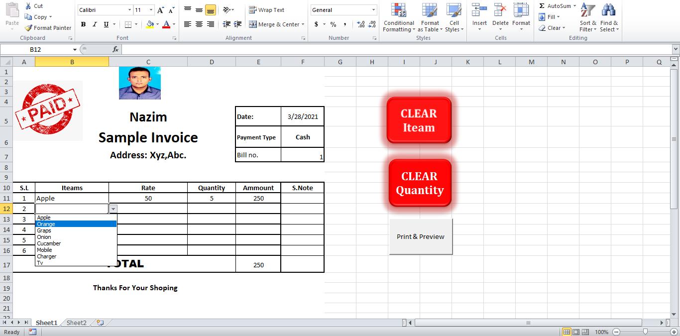 I will design auto calculation invoice in Microsoft excel