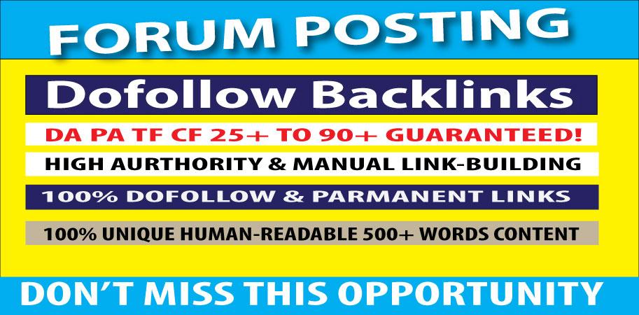 I will create 25 Forum posting SEO Backlinks on High DA/PA sites