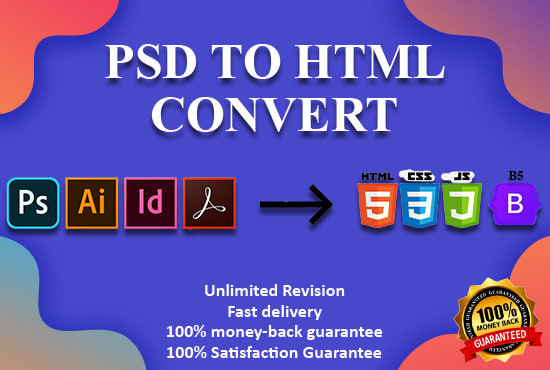 I will convert psd to html,  xd to html with responsive bootstrap 4