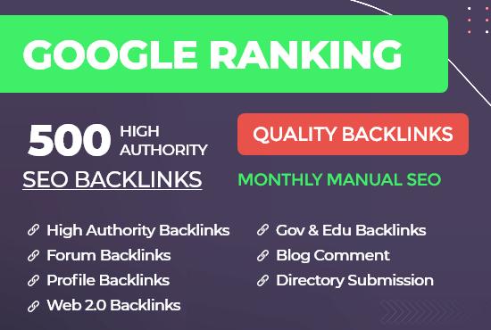 Build Quality Do-follow Backlinks off page SEO Rank Website