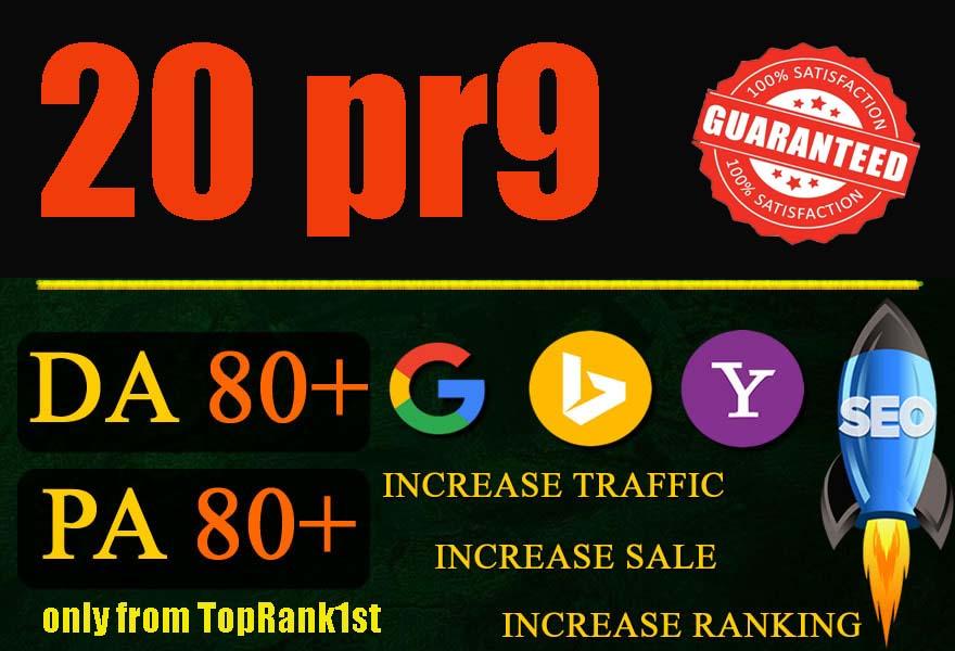 I will create 20 high pr9 da 80+ dofollow backlinks for google top ranking