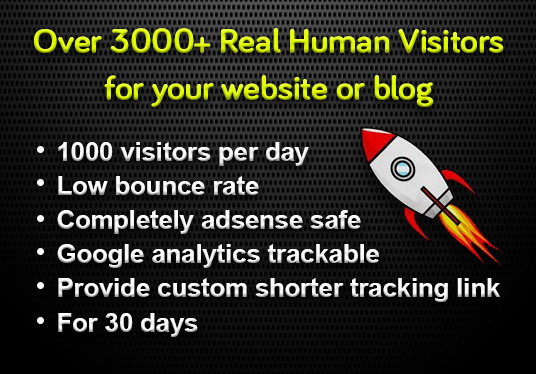 I provide 30000+ real human traffic for 30 days