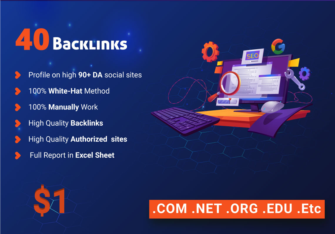 I will provide 40 high manually profile backlinks for google ranking