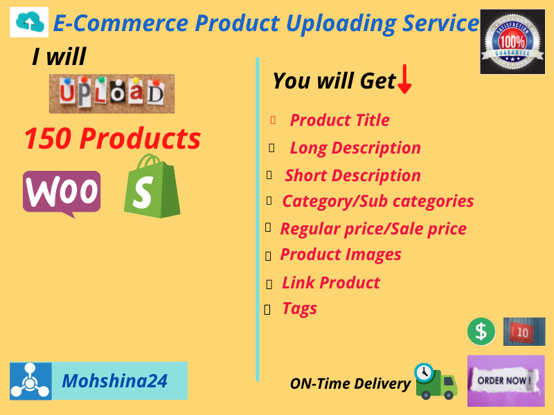 I will upload 150 products in your woocommerce & shopify store.