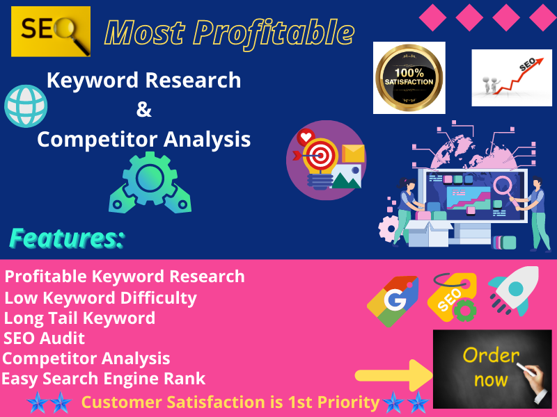 I Will Do effective SEO Friendly Keywords research & competitors analysis for google top ranking