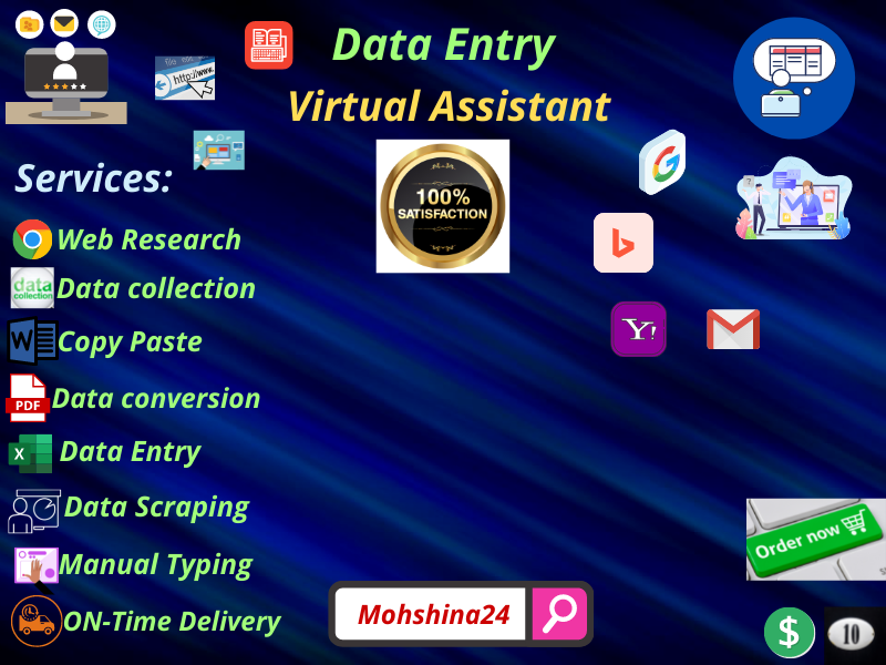I Will Do Data entry,  Web research,  Data Mining,  Data conversion & copy paste.