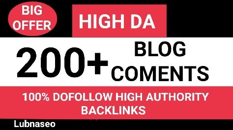 I will do 200 Blogcoments Backlinks dofollow