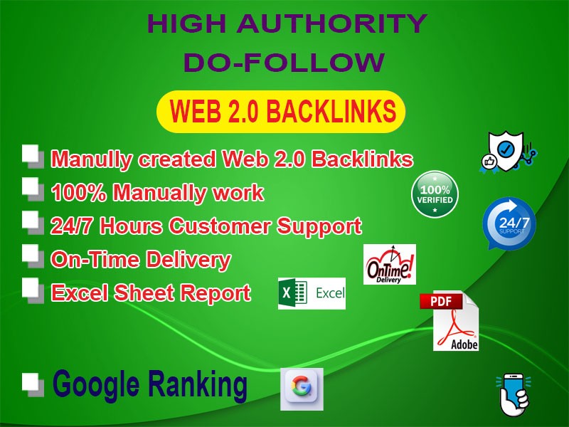 I will create 40 manual authority web 2.0 backlinks for Google 1st page