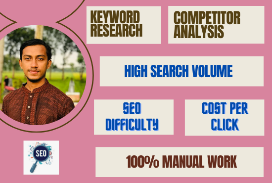 I will do manually 80 keyword research and 1 competitor analysis