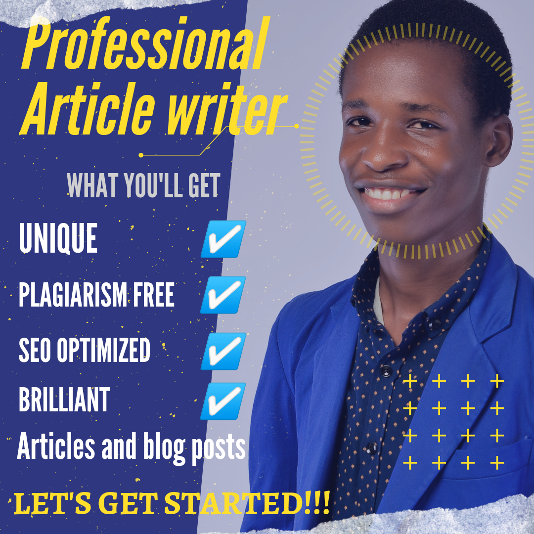 I'm a professional article writer,  and I'll write a unique and SEO optimized article for you
