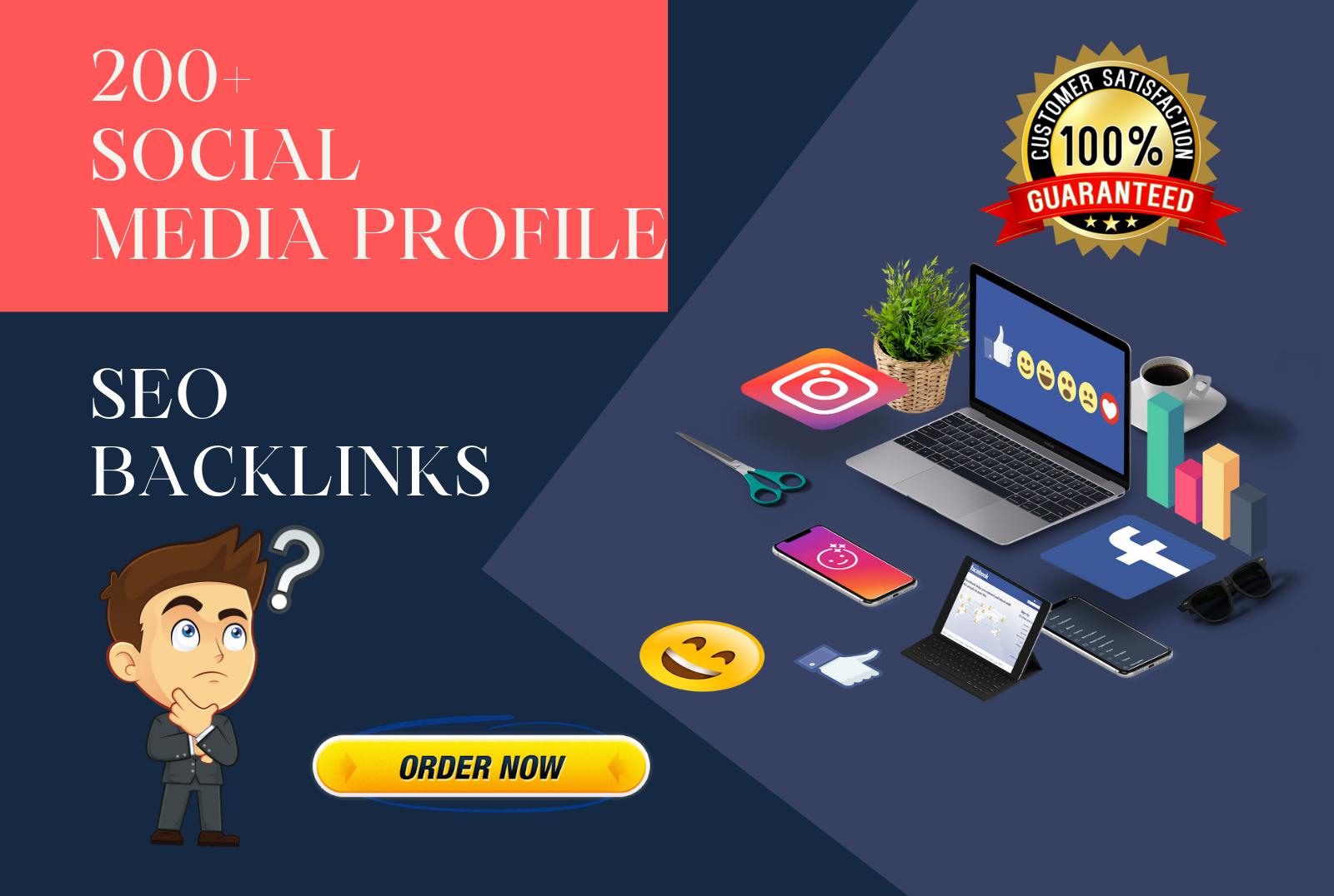 I will create 200 social media profile SEO backlinks