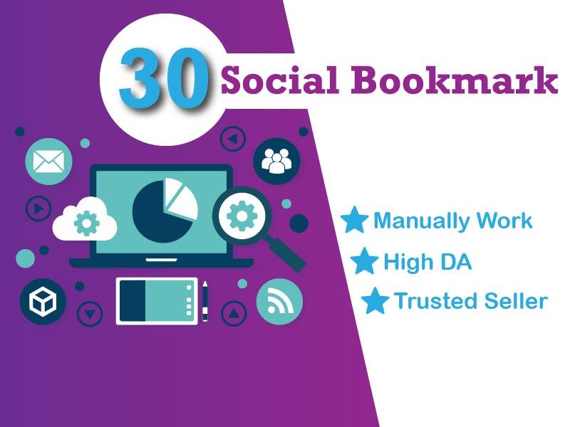 I will create manually 30 High-PR social bookmark backlinks