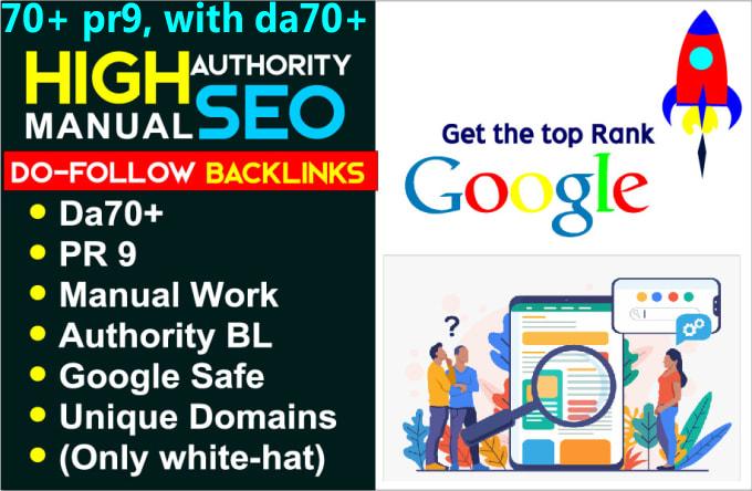 I do 70+ pr9,  with da70+ high authority SEO backlinks service,  link building