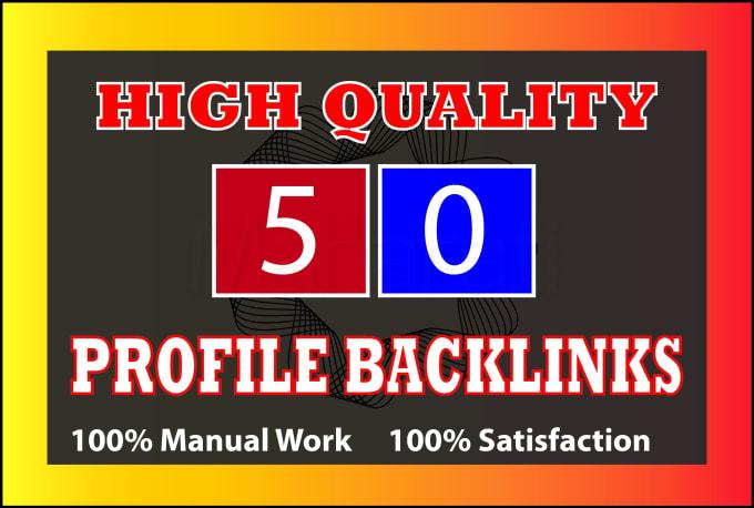 I will do 50 high domain authority social profile backlinks