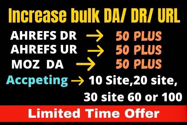 I will create bulk moz da ahrefs dr ahrefs url