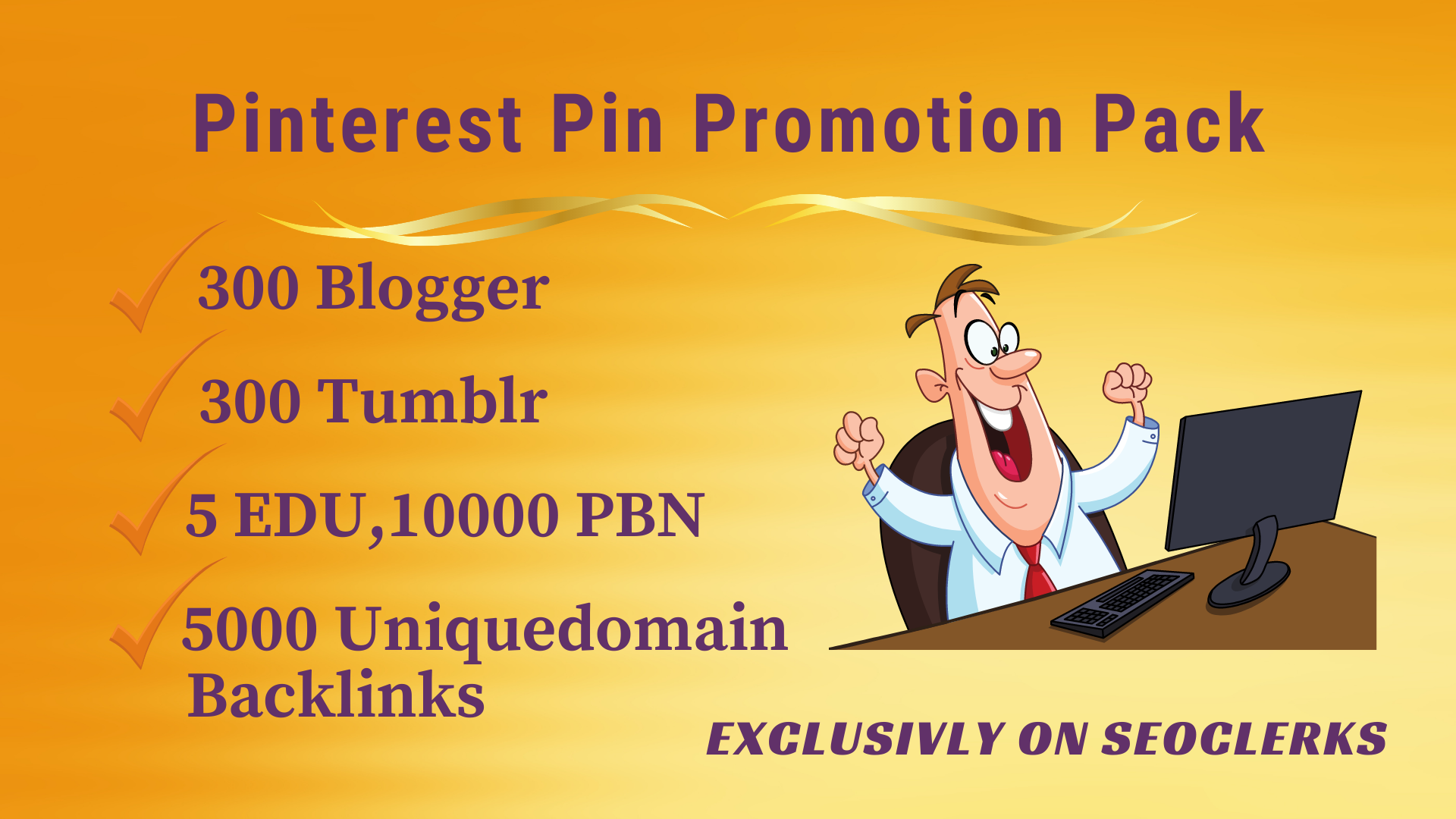 Pinterest Pin Promo pack -Get 5 EDU,  300 blogger,  300 tumblr,  10000 PBN,  5000 uniquedomain backlinks