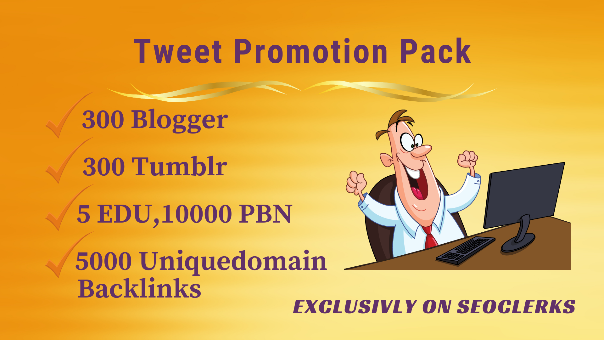 Twitter Tweet promo pack -Get 5 EDU,  300 blogger,  tumblr,  10000 PBN,  5000 uniquedomain backlinks