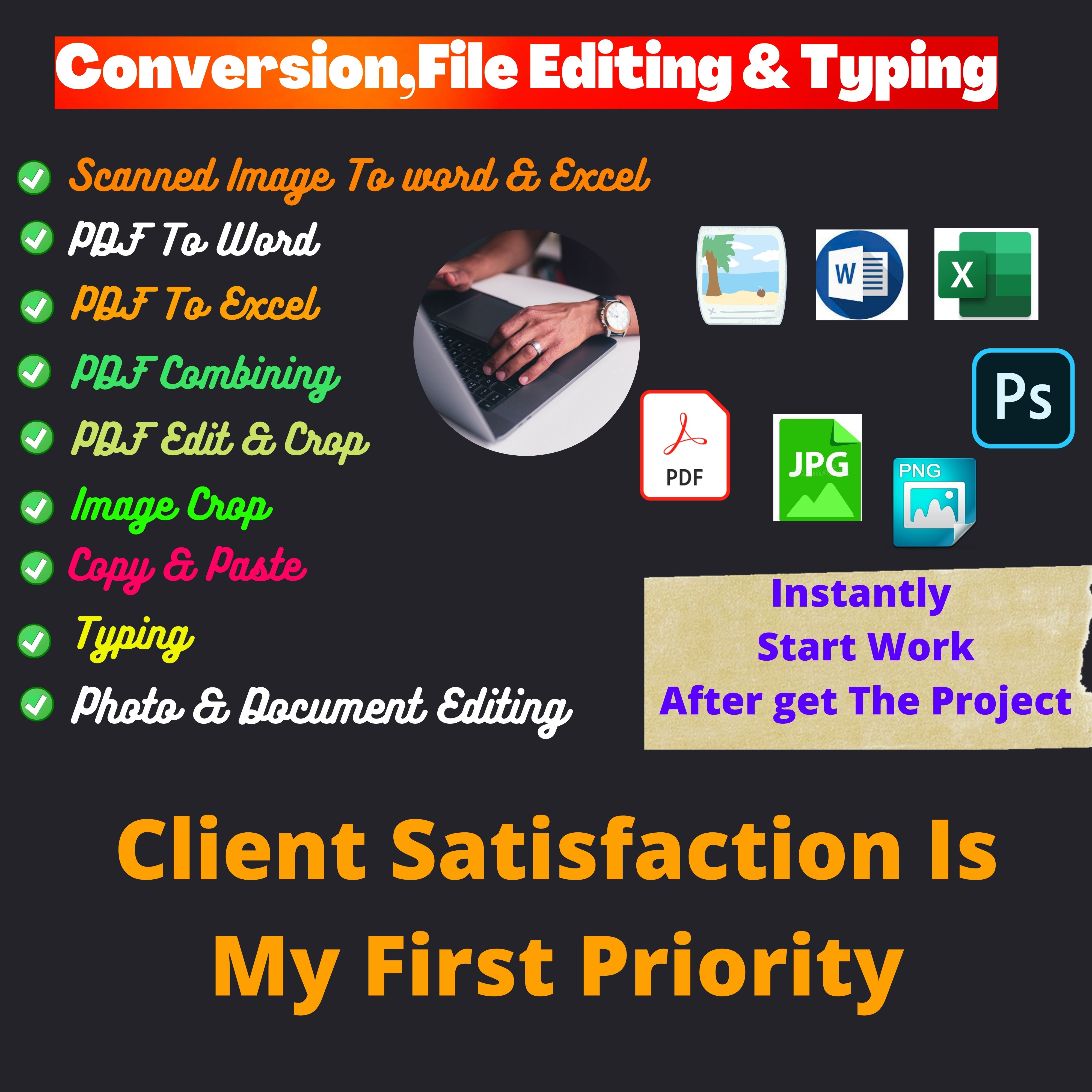 You Will Get convert PDF, JPG to excel,  Word OR any data entry work