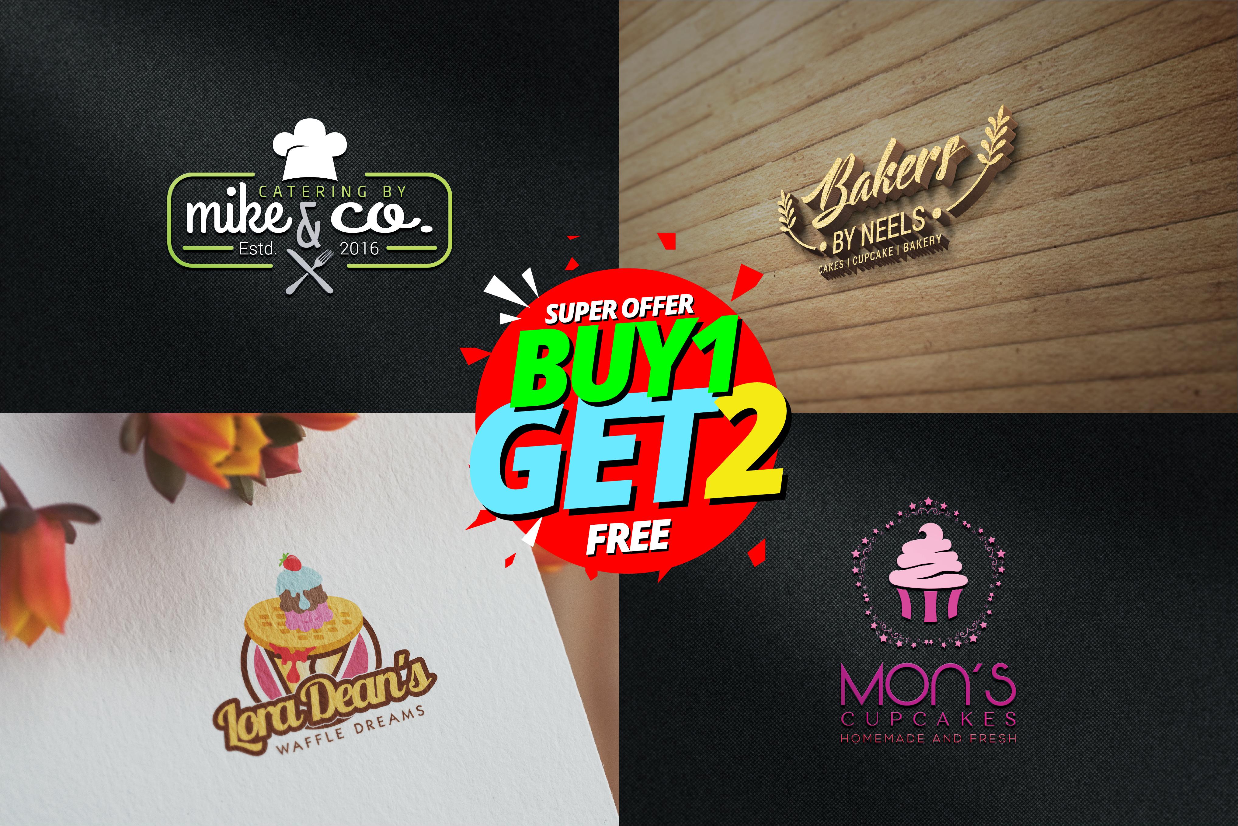 I will design 3 cupcake bakery restaurant chef food logo design