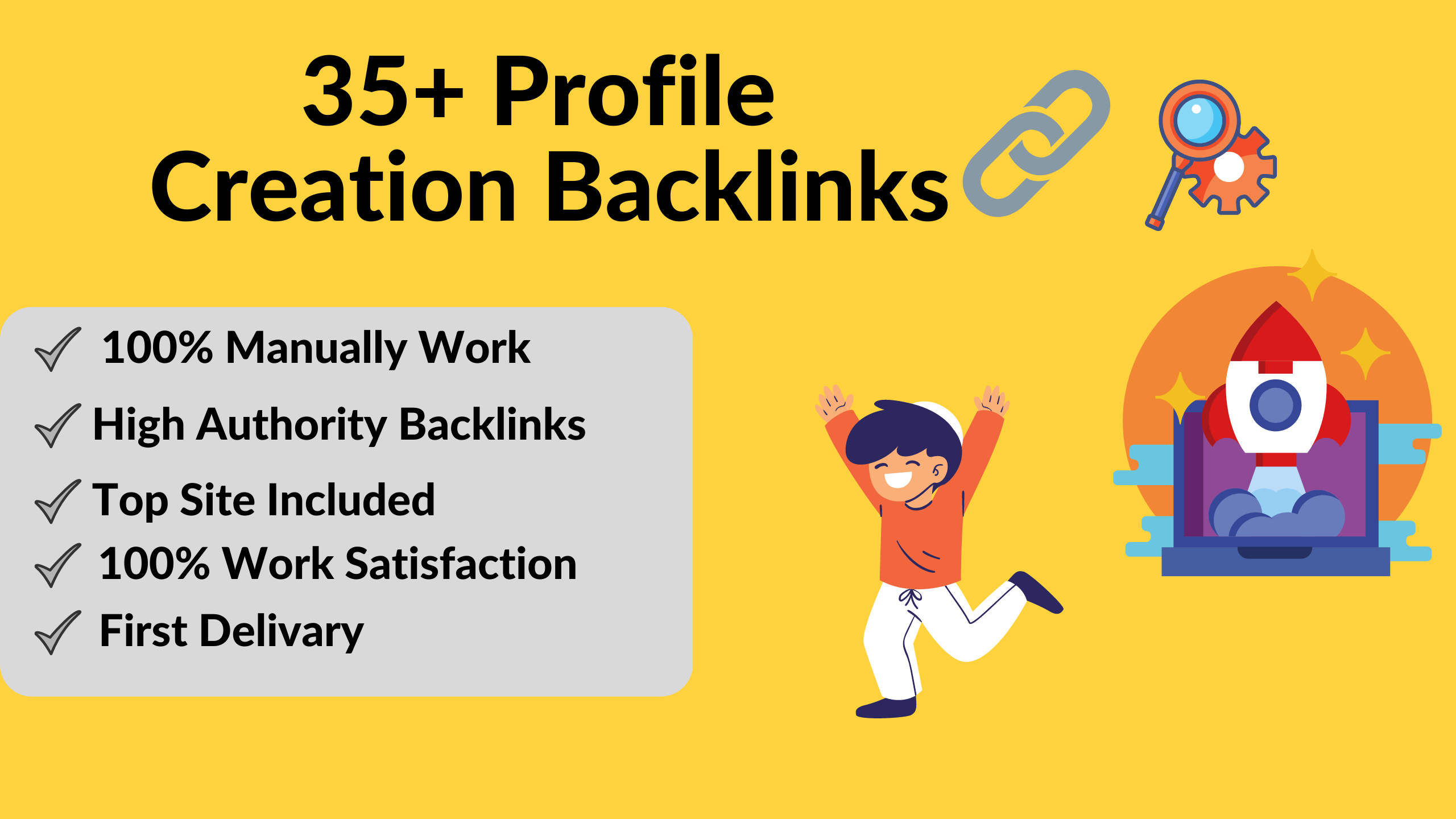 I will do 35+ High-Quality Profile Creation Backlinks for your website.