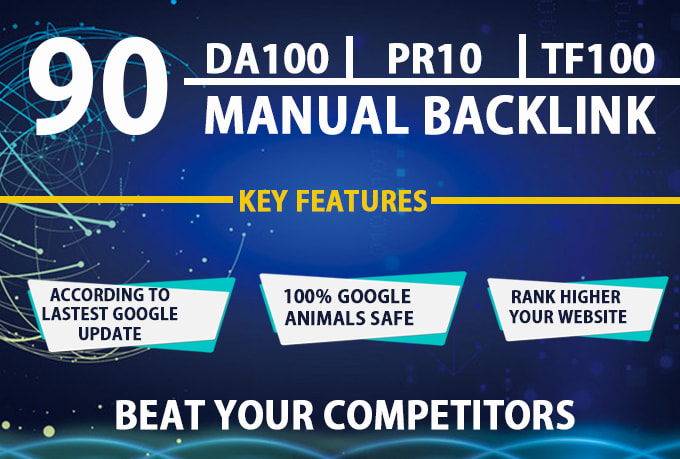 I will manual 90 SEO backlinks on pr10,  da100,  tf100 unique domains
