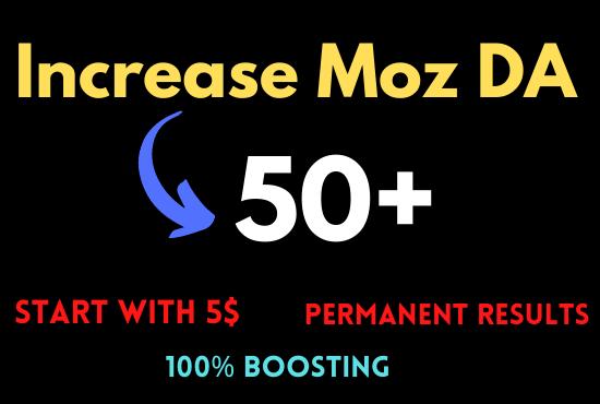 I will increase moz da 50 domain authority 50