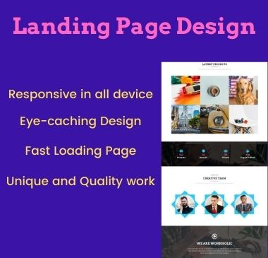 I will create eye-caching landing page design with popular page builder