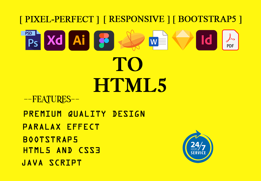 I will convert psd to html,  xd to html,  pdf,  ai to html bootstrap5 responsive