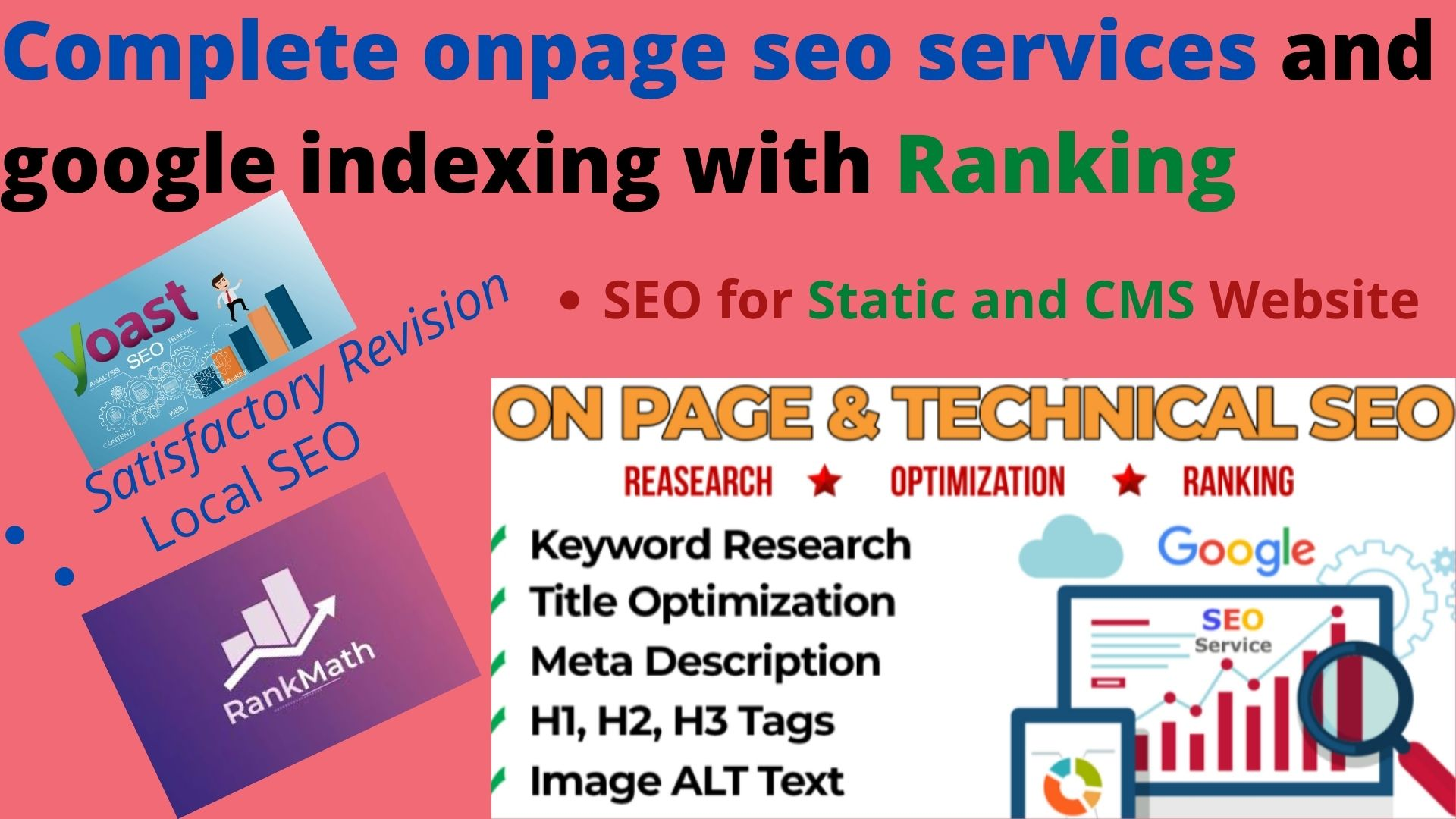 I will complete onpage seo services 5 Nos. Pages/Post