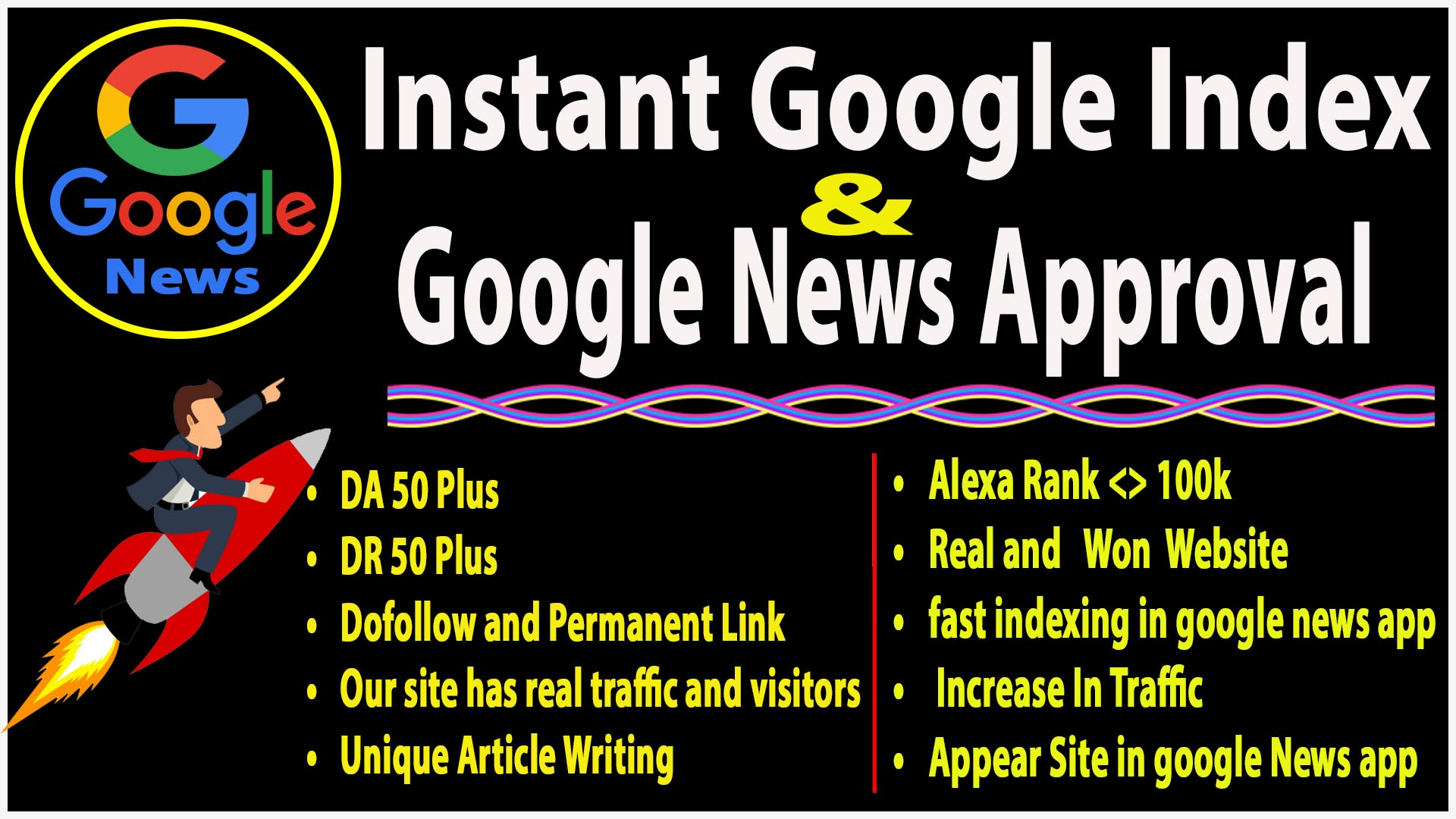 I will do DA 70+ Dofollow 2 HQ guest post on google news approval,  instant google index Guarantee