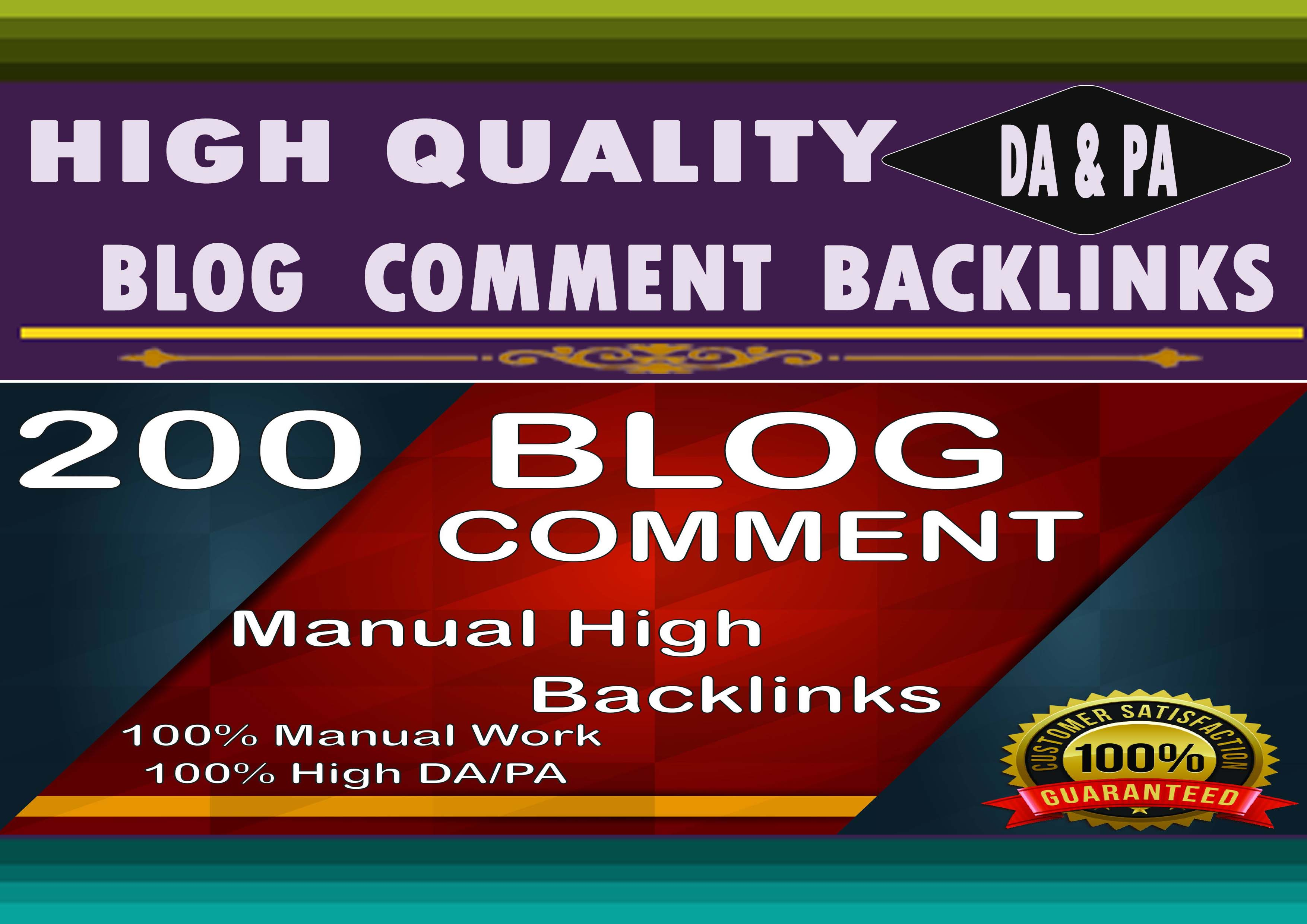 I Will Make 200 High Quality SEO Backlinks Using Blog Comments For Your Web Site Ranking.