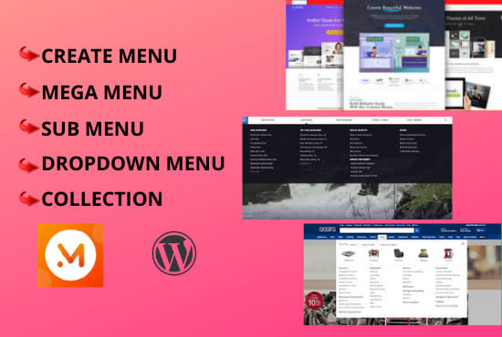 I will build mega menus,  slider,  on wordpress website