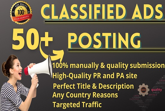 I Will Provide Manually 50+ Classified Ads Posting SEO Backlinks,  Link Building