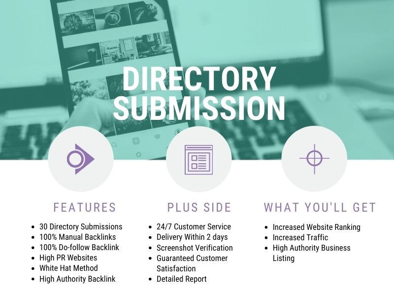 I will submit manually 30 directory backlinks,  local citations in high PR sites
