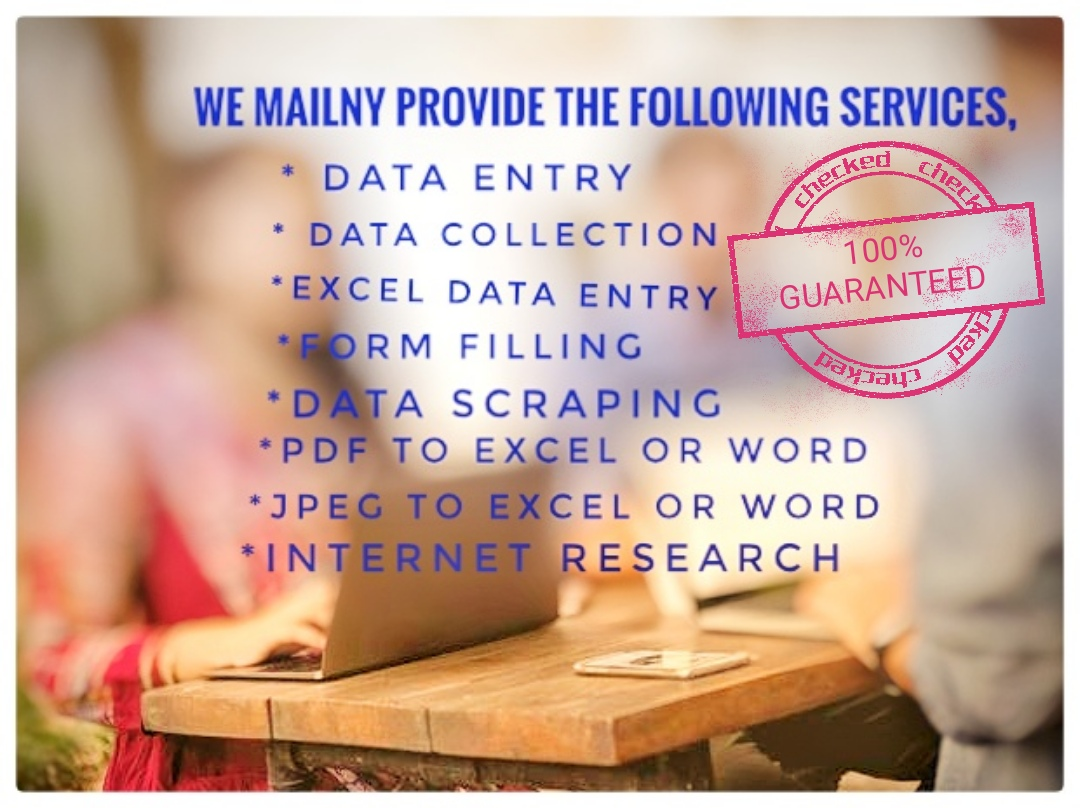Data Entry Project will be done with Care and Accuracy.