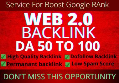 Land on Google 1st page with High DA Web2.0 SEO Backlinks