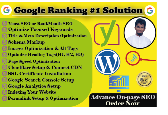 I will do WordPress on-page SEO to rank your website with Yoast or Rank math