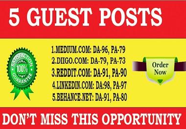 Publish 5 Guest Post High DA 90+ Websites Boost Your SEO Ranking