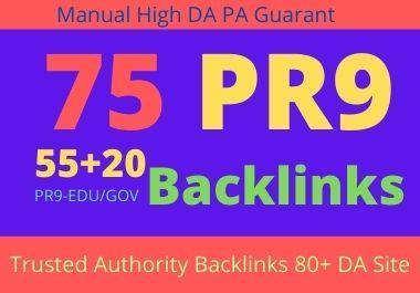 I will do manually 75 backlinks 55 PR9+20 EDU/GOV 80+DA Safe SEO High Pr Backlinks 2021 Best Results