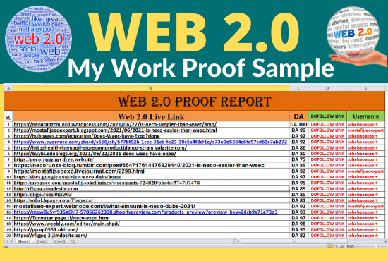 I will build 100 web 2.0 backlinks by blog seo high authority DA/PA 50 to 90+ dofollow sites