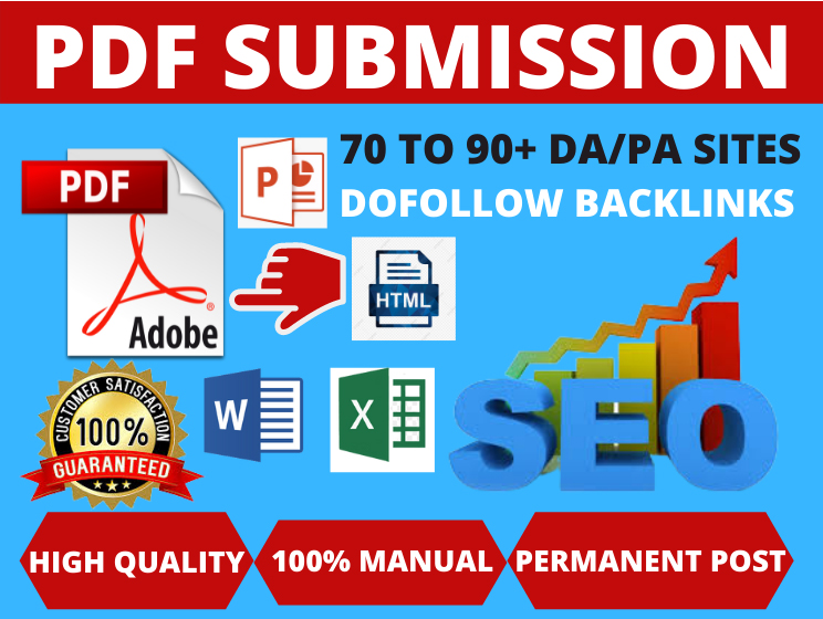 55 PDF Submission High authority low spam score website backlinks permanent link building