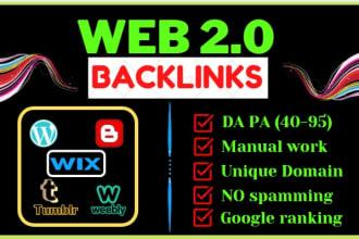 I will make 30 manual web2 0 super buffer blog high authority backlinks