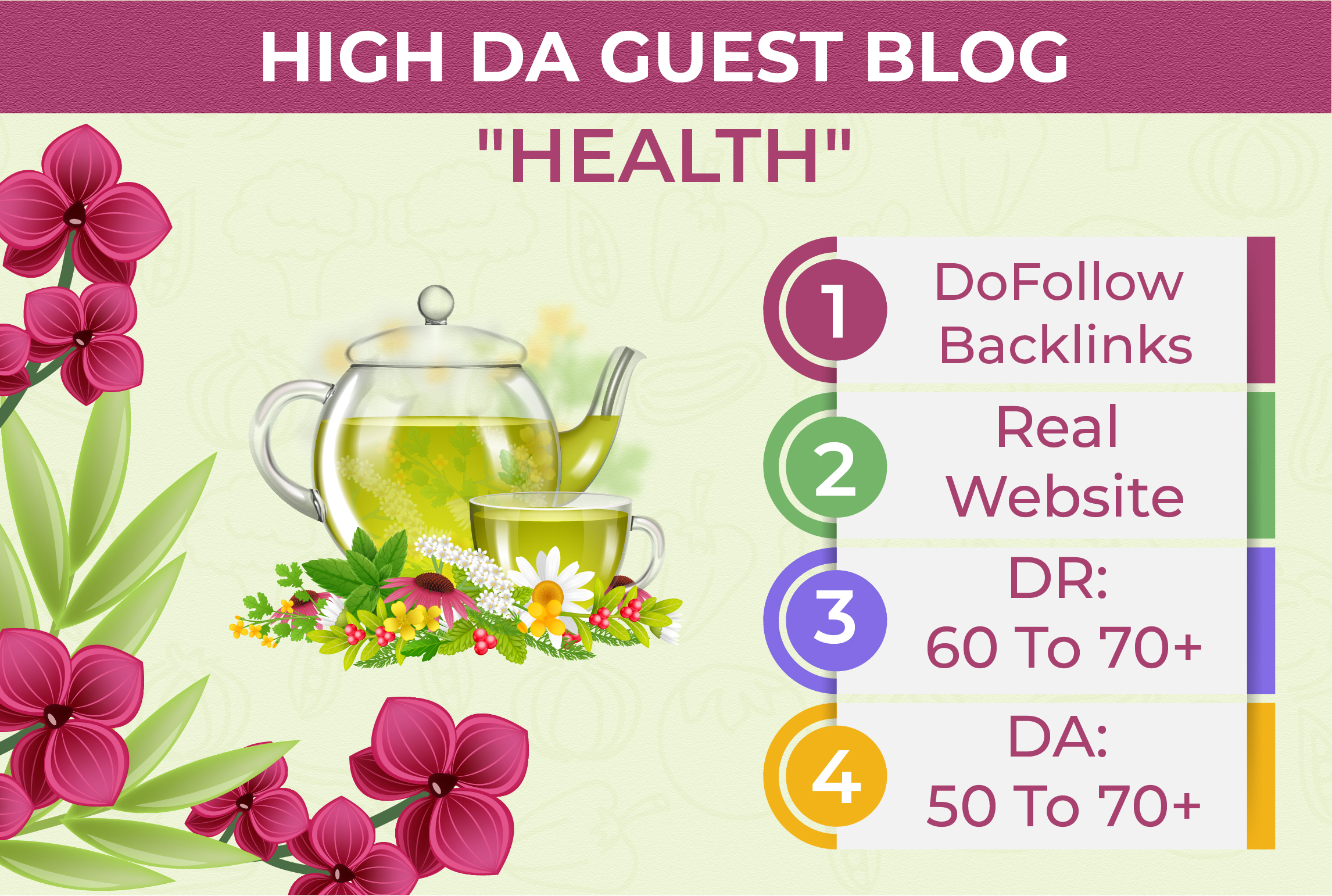 I will published high da guest post on health and beauty blog