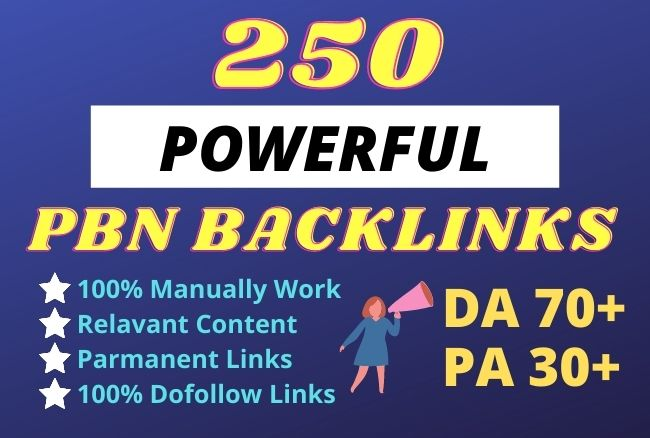 250 Homepage Powerful SEO permanent PBNs backlinks from high DA Sites
