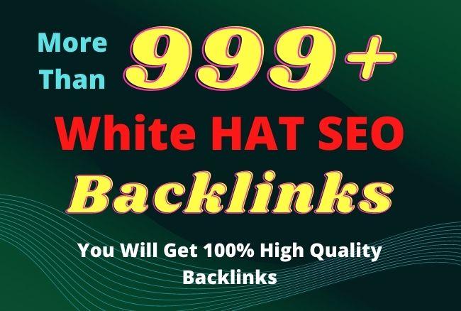 I will provide 999+ high authority white hat SEO backlinks