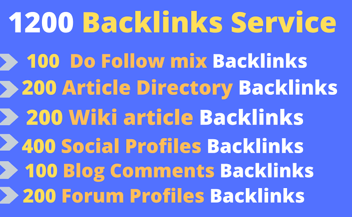 Provide 1200 backlinks including High Authority powerful in this service