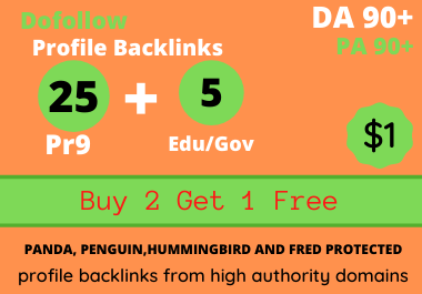 Buy 2 Get 1 Free High Quality Dofollow Pr9 Profile Backlinks
