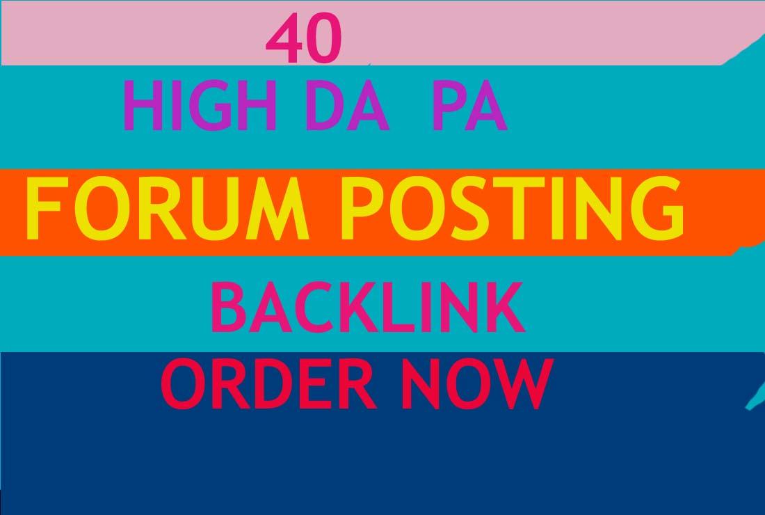 I will Do 40 high Domain authority Forum Posting Backlinks