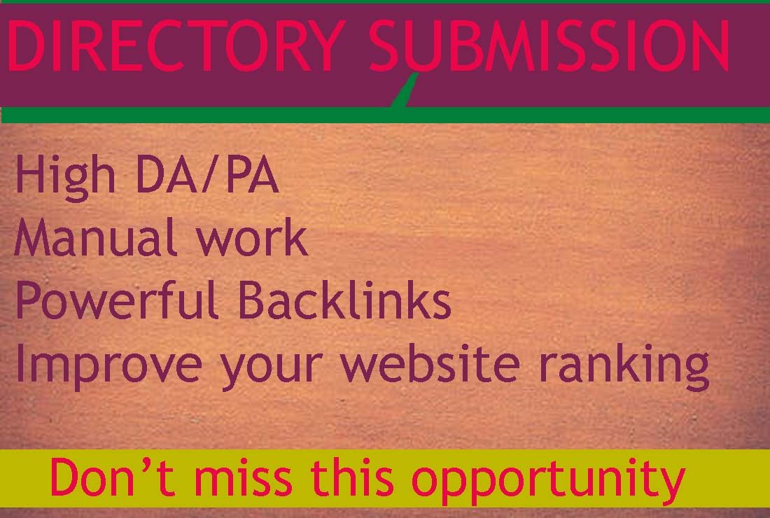 I will provide 50 directory submission for website ranking